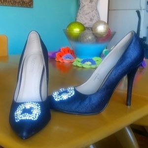 👄Sex and City D'orsay Glitter Dress Pumps PROM👠